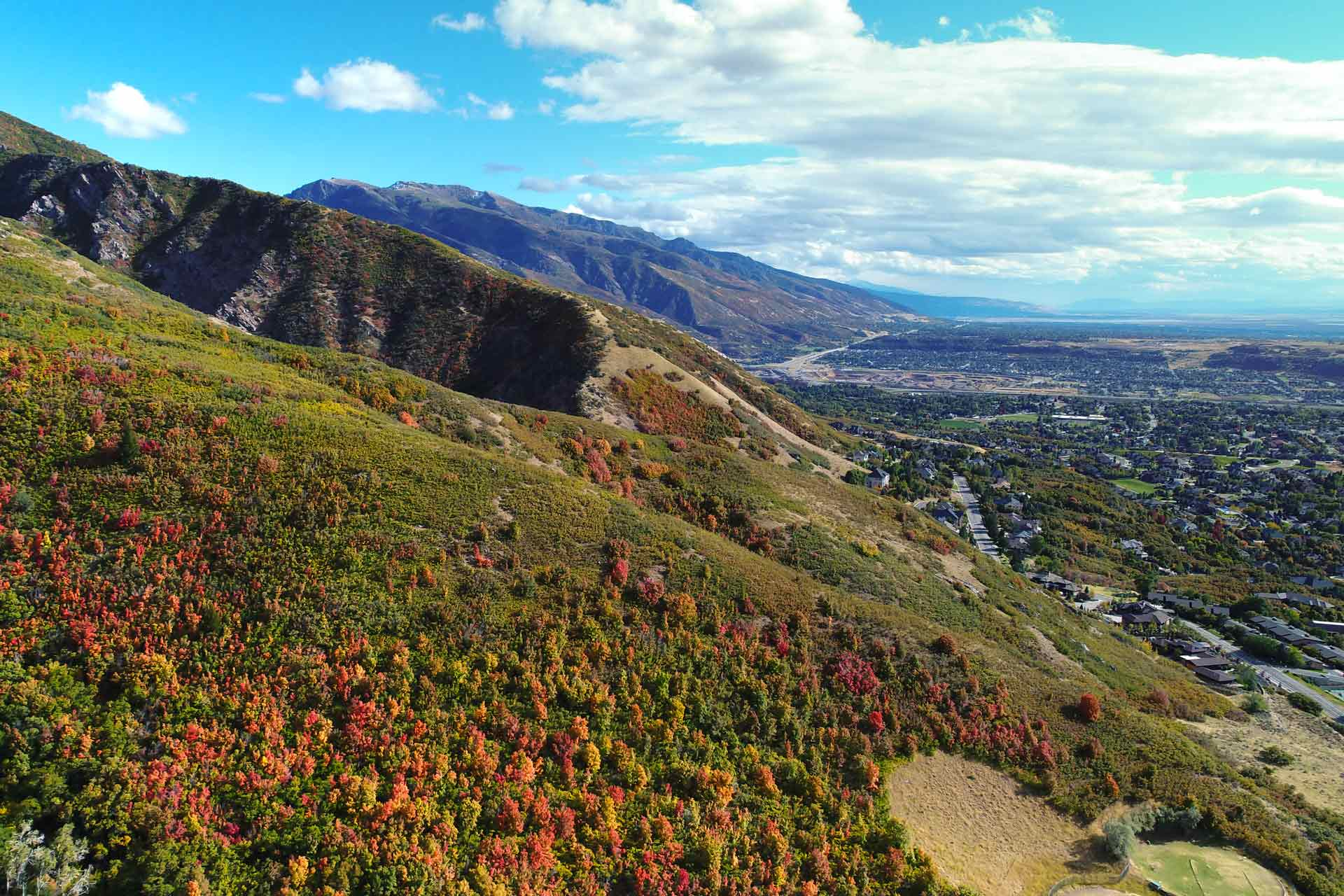 View from mountain of Weber County in the fall