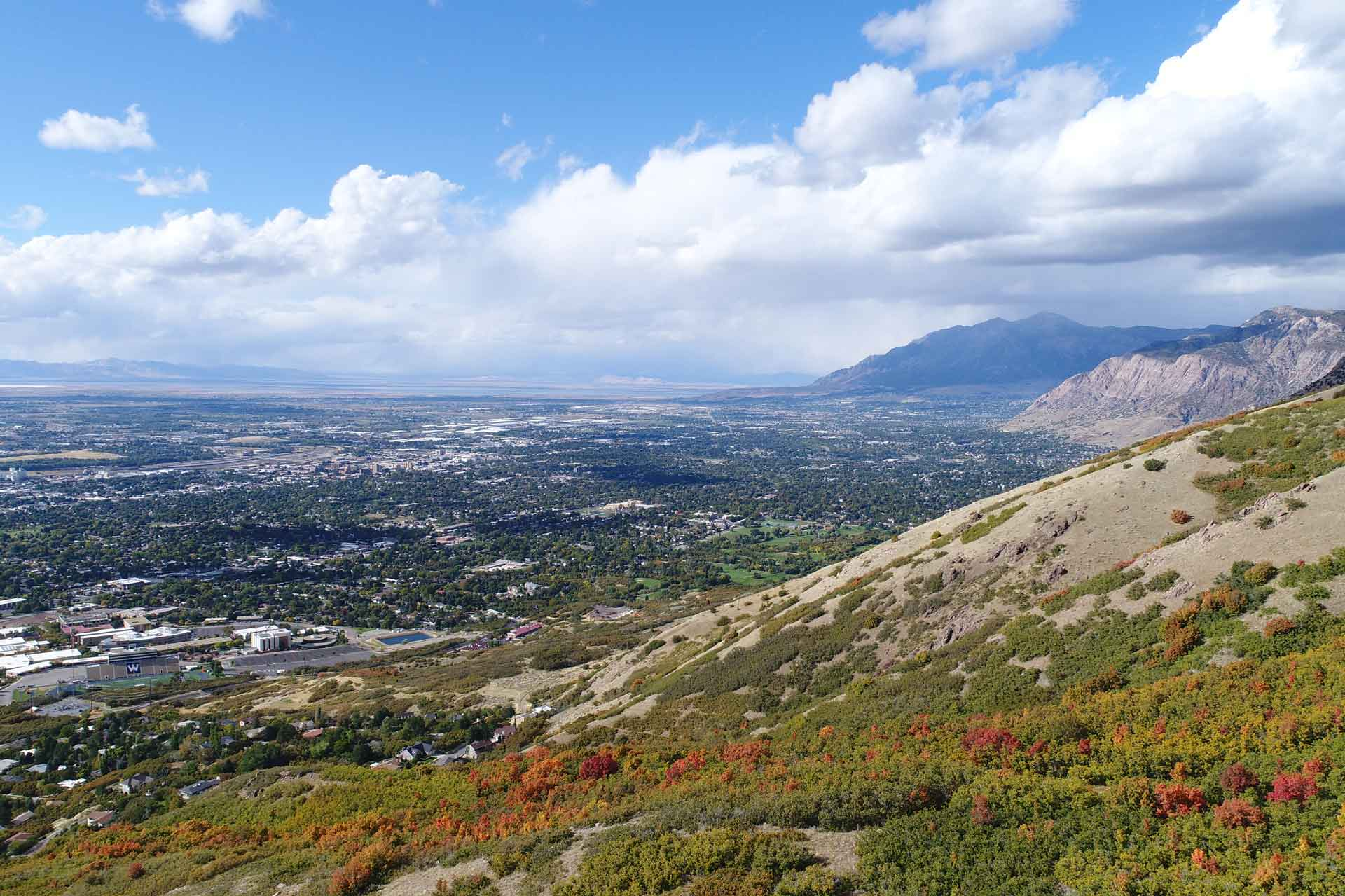 View from mountain overlooking Ogden in the fall
