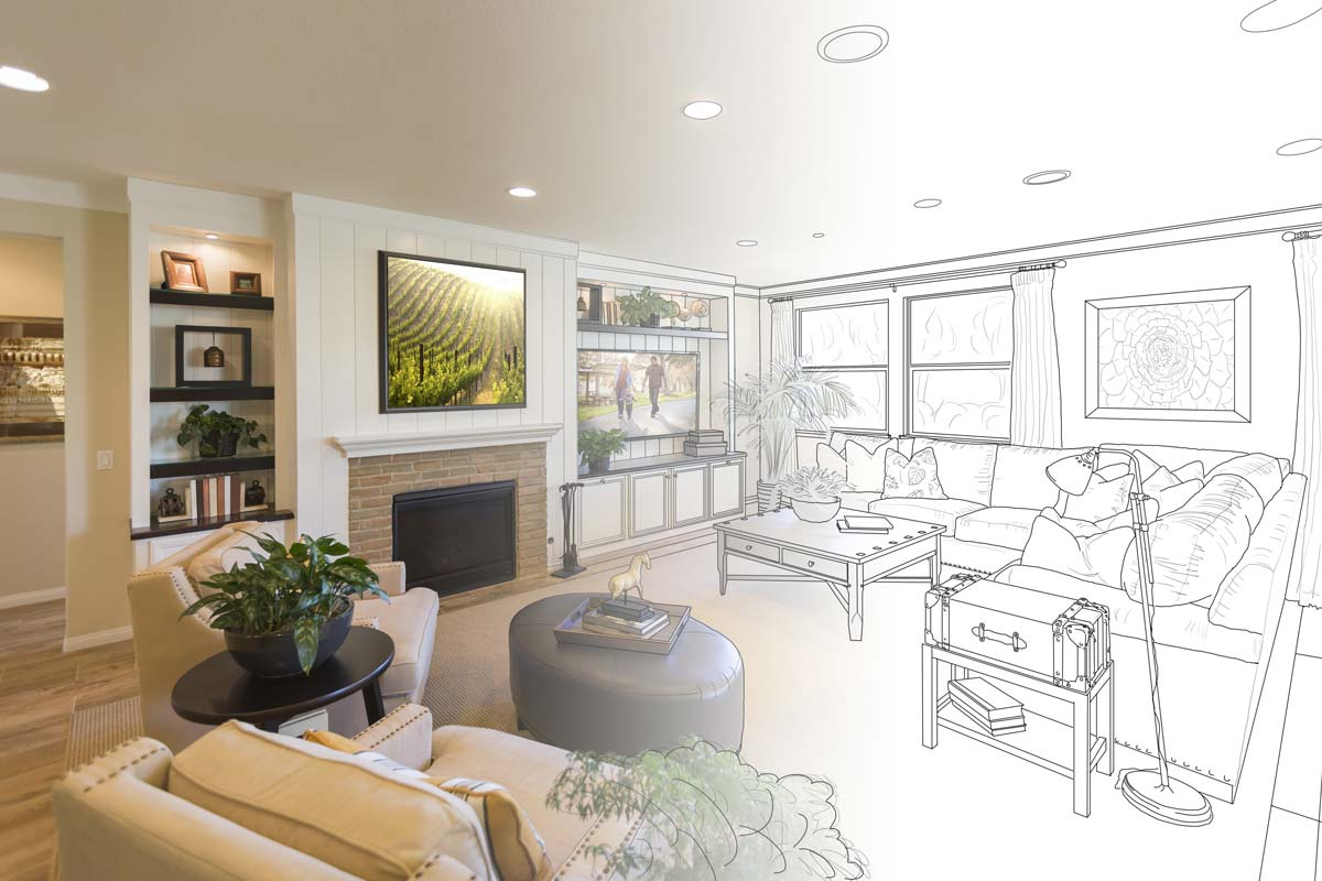 Image of decorated home that transitions to drawn design image