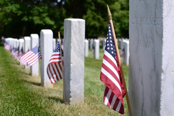 Cemetery with US flags